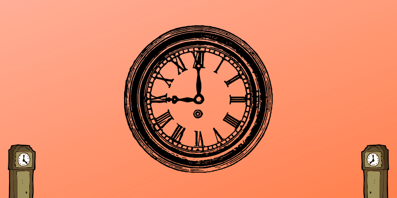 Clock face on pink background