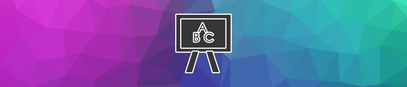 ABC on blackboard with a multicoloured polygon background